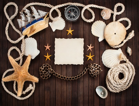 Few marine items on a wooden background  photo