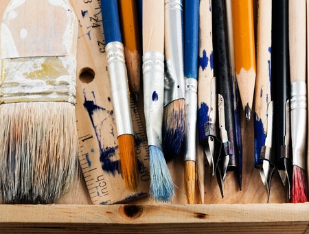 Set of art tools on a white background  Stock Photo