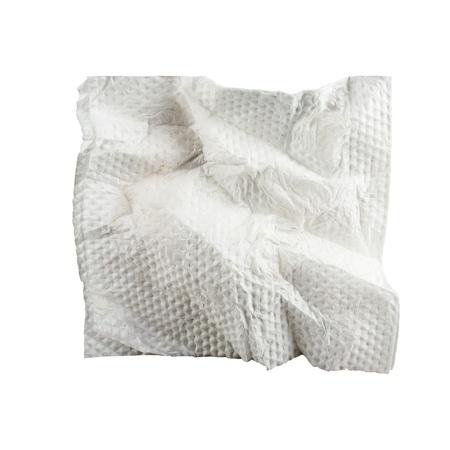 Square used napkin, isolated on white  Stock Photo