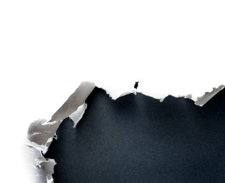 paper hole: Breakthrough paper hole with gray background. Stock Photo