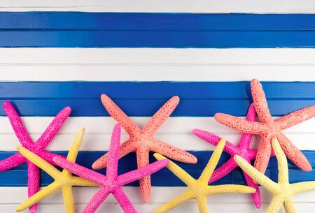 yellow star: Few colorful sea stars on a wooden background.