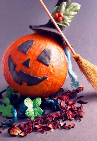 all saints day: Halloween pumpkin with plasticine details.