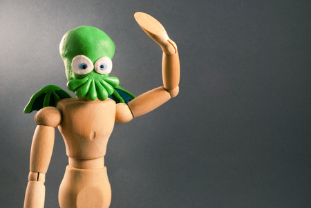 cosplay: Classic wooden dummy series. Cthulhu cosplay.