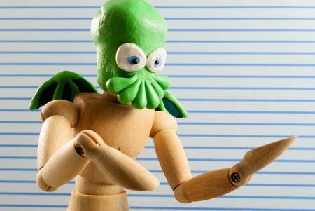 Classic wooden dummy series. Cthulhu cosplay.