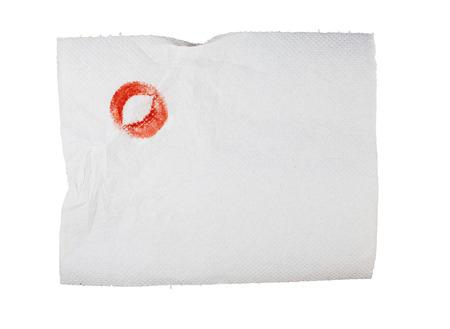servilleta de papel: Servilleta de papel blanco ensuciada con pomada. Foto de archivo