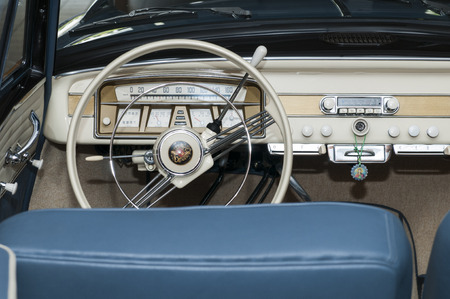 deluxe: Scena, Italy - June 03, 2016: inside of a Borgward Isabella TS Deluxe, built in 1959, in the Centre of Scena.