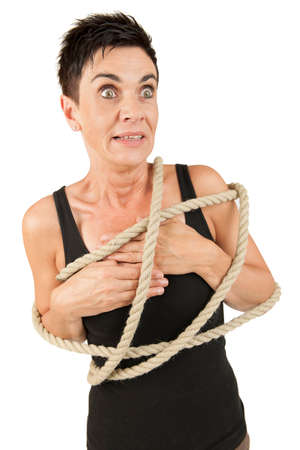 looking at side: Woman tied up horrified looking side