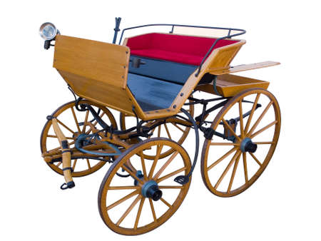 Open horse-drawn carriage high position Stock Photo
