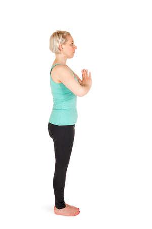 pada: Yoga woman green position Stock Photo