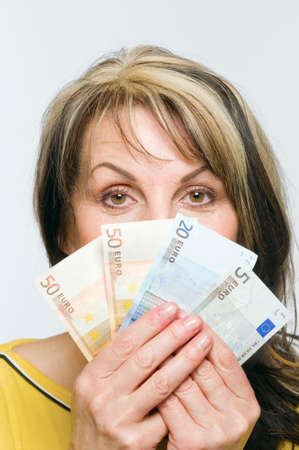 woman behind money