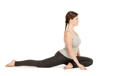 Yoga woman gray_Eka Pada Rajakapotasana2 Stock Photo