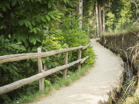Idyllic hiking trail with railings and small irrigation flow through a forest above the city of Merano in South Tyrol.