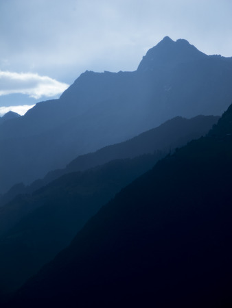 blue mountains in south tyrol vertical Stock Photo
