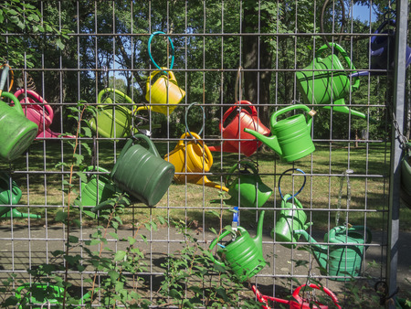 Colorful plastic watering cans on a fence at the edge of the forest.