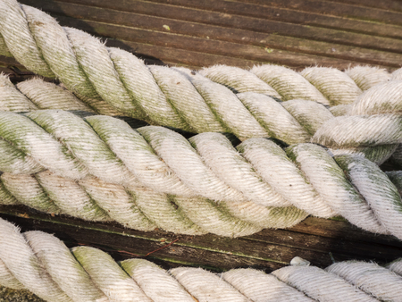 Close-up of side by side old ropes on a wooden plank. Stockfoto