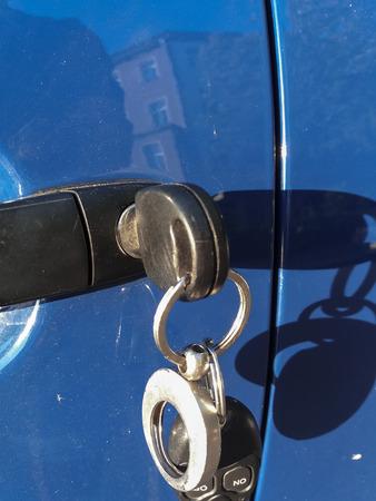 blue car door lock