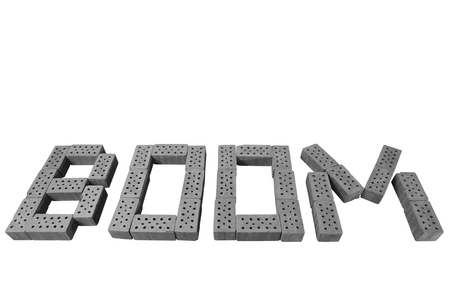 word BOOM isolated on white BW