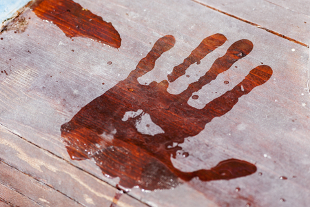 Close-up of a wet handprint on a wooden footbridge,