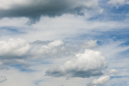 Stratocumulus clouds with translucent blue sky over Bavaria in northern direction. Stockfoto