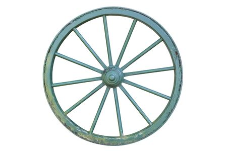 Old Horse Carriage Wheel with Flaking Green Paint Schinht Isolated on White.