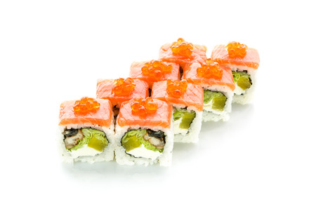 Delicious sushi with salmon, avocado and eel