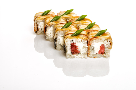 philadelphia roll: Sushi with eel, tomatoes and cheese. Isolated on white. Path included