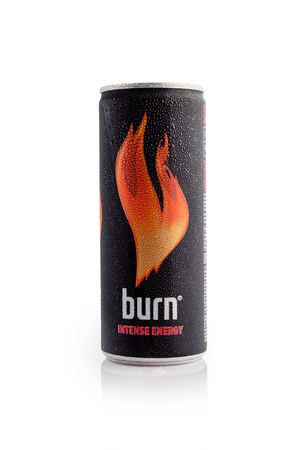 MINSK, BELARUS-DECEMBER 8, 2016: Editorial photo of  Burn Energy Drink isolated on white. Burn owned and distributed by The Coca-Cola Company. Burn energy drink is made for keeping eyes open and mind sharp whenever you need it. Stock Photo - 67635193