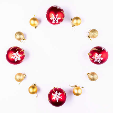 New Year, Christmas Wreath of Colorful Balls. Top View Stock Photo