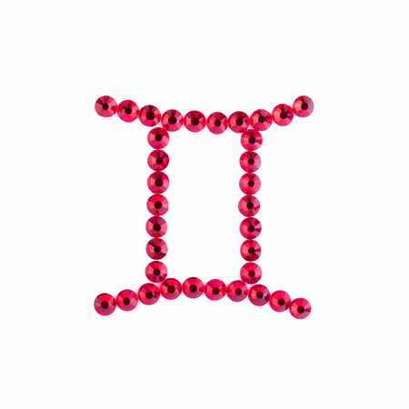 Gemini. Sign of the zodiac of red rhinestones on a white background