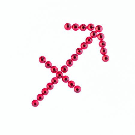 Sagittarius. Sign of the zodiac of red rhinestones on a white background Stock Photo