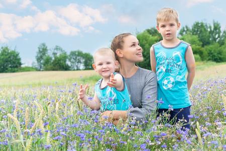 Family walk in the cornflower field.
