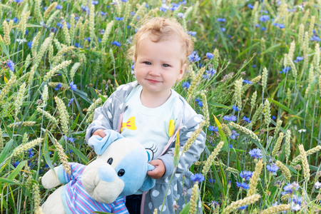 Little girl on a walk with her toy in a cornflower field Stock Photo