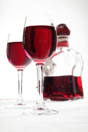 decanter: Cherry liqueur - glasses and decanter Stock Photo