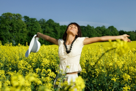 adult rape: Young woman in the yellow rape field