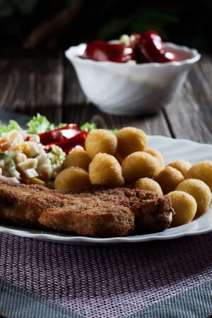 Breaded chop, prepared potatoes and salad  Mysterious light Stock Photo - 19398836