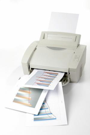 impresora: Informes de ventas impresas Foto de archivo