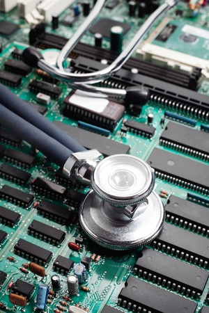 Stethoscoop op Circuit Board Selectieve aandacht