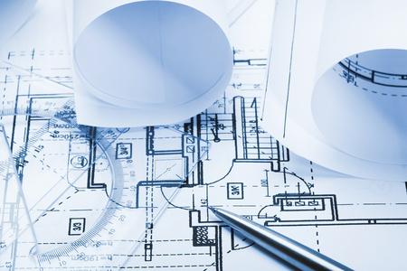 Architect plan - blue tone