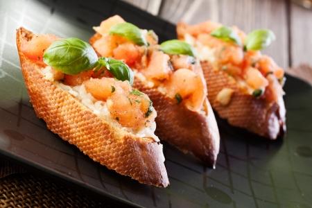 Bruschetta with mozzarella and tomato Stock Photo - 20334083