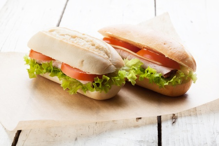 Sandwiches on paper  Selective focus