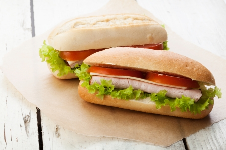 Sandwiches on paper  Selective focus  Stock Photo - 20323899