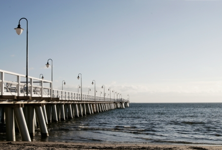 Baltische pier in Gdynia Orlowo Stockfoto