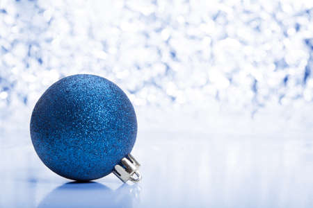 Christmas decoration in blue tone  Selective focus