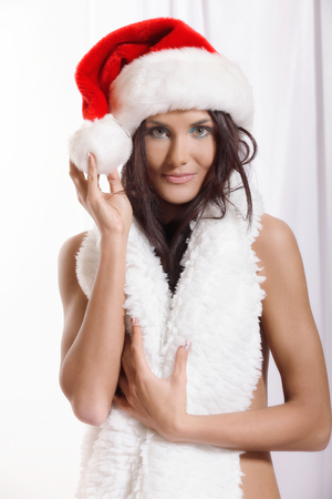 Portrait of beautiful santa girl