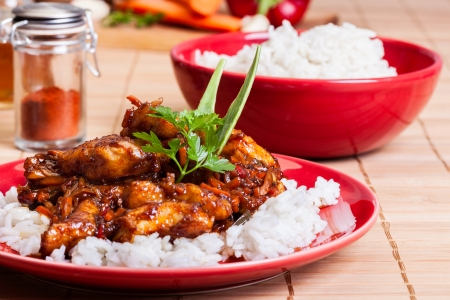 Sweet and sour pork and rice on a plate photo