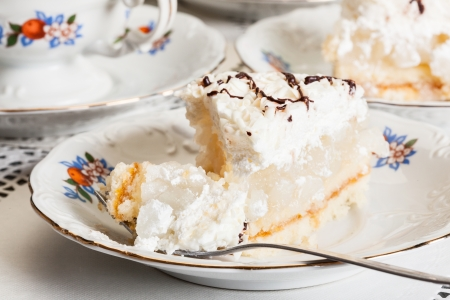 Piece of apple pie on plate Stock Photo