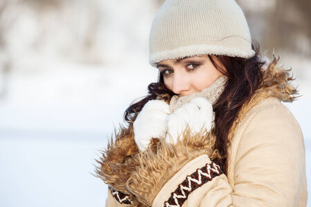 Beautifull woman on the winter background
