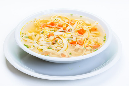 Broth - chicken soup with noodles on a plate Zdjęcie Seryjne