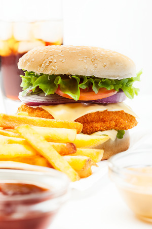 chicken burger: Chicken burger and glass of cola with ice Stock Photo