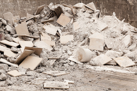 Debris, garbage bricks and material from demolished building